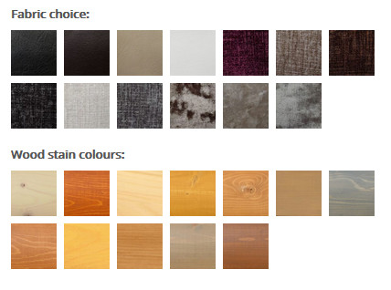 Fabric and wood colour options